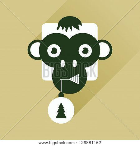 Flat web icon with long shadow Monkey