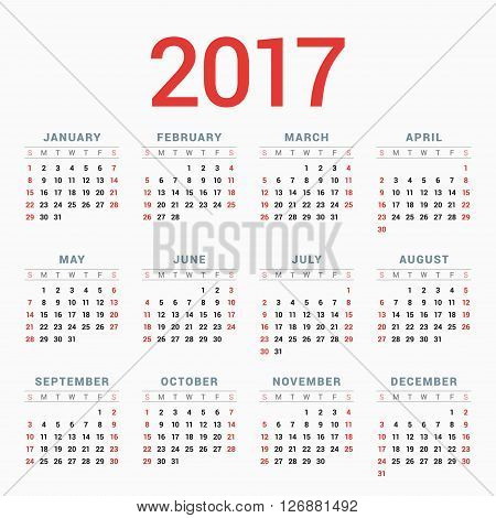 Calendar For 2017 Year On White Background. Week Starts Sunday. Simple Vector Template. Stationery D