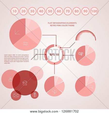Vector elements for infographic. Flat design in retro pink color