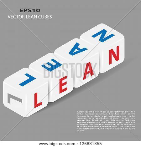 Vector cubes with letters LEAN. Lean is modern program of productivity