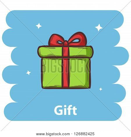 Gift icon.Vector Gift icon isolated on background.Hand draw Gift icon vector.Vector Gift box icon isolated on background with text Gift.Vector Present box icon.Vector Gift box icon with bow.Gift icon
