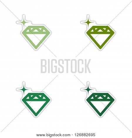 Set of paper stickers on white  background diamond