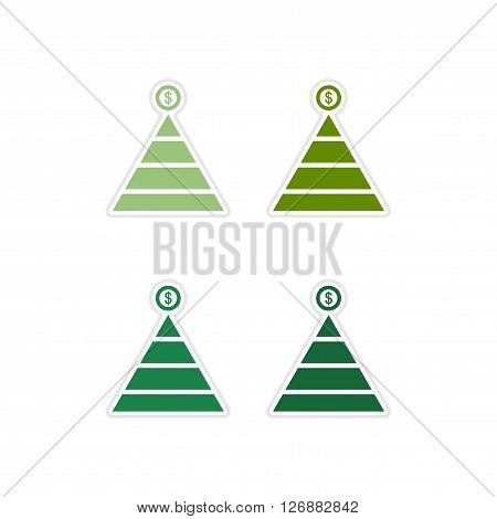 Set of paper stickers on white  background financial pyramid