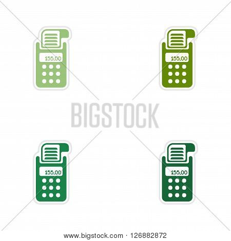 Set of paper stickers on white  background  terminal