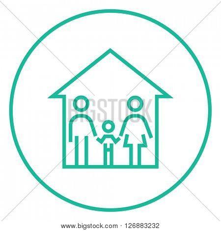 Family house line icon.
