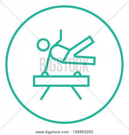 Gymnast exercising on pommel horse line icon.