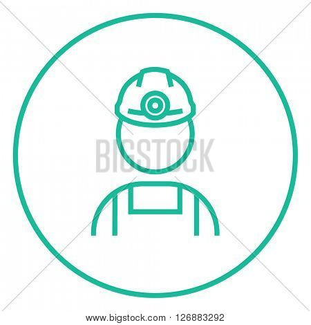 Coal miner line icon.