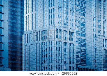 detail of skyscraper,shanghai china,blue toned image.