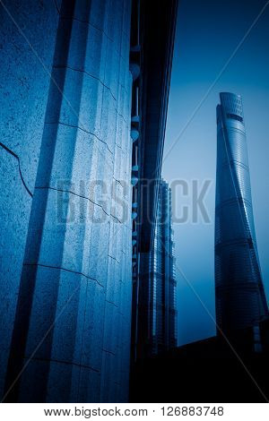 low angle view of shanghai tower,china,blue toned image.
