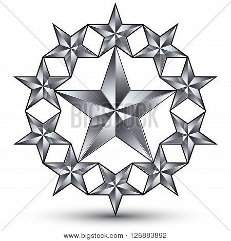 Geometric vector classic rounded silver element isolated on white backdrop 3d gray decorative stars silvery shaped blazon.