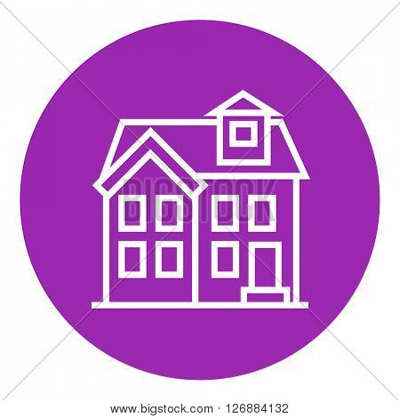 Two storey detached house line icon.