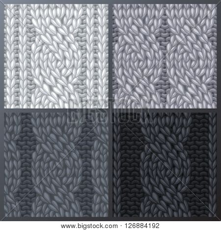 Set Of Seamless Six-stitch Cable Stitch Patterns.
