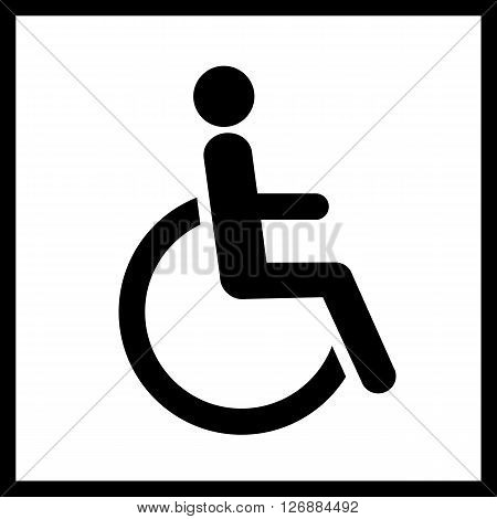 Disability vector icon.Man in wheelchair icon isolated.Vector restroom icon, sign, symbol. Wheelchair vector icon. Disability vector icon isolated on white background