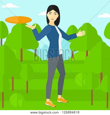 Woman playing flying disc.