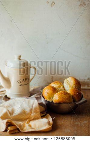 garlic bread rolls with garlic. Bread bun with garlic. lush homemade buns with garlic