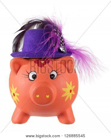 Piggy Bank with Hat on White Background
