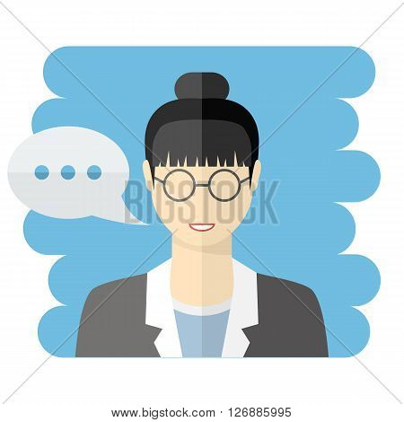 Teacher or business woman vector avatar.Vector Teacher icon.Business woman avatar with a talking bubble, in flat style.Teacher with speech bubble.Vector business woman icon flat style.Female avatar
