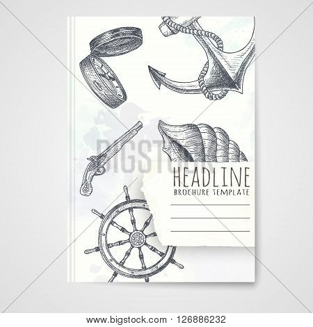 Notebook template with hand drawn nautical objects. Vector editable notebook cover.