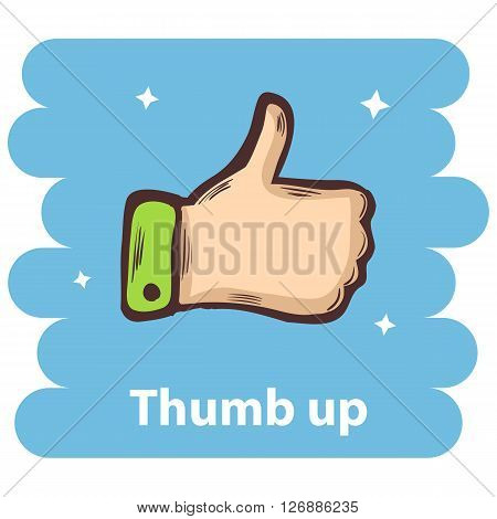 Thumb up icon.Vector thumb up icon isolated.Up finger.Vector Thumb up isolated.Vector Thumb up hand.Cartoon thumb up vector icon