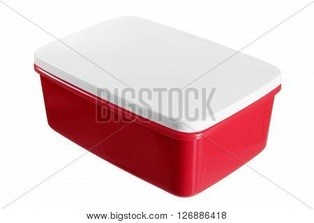 Plastic Lunch Box on Isolated White Background