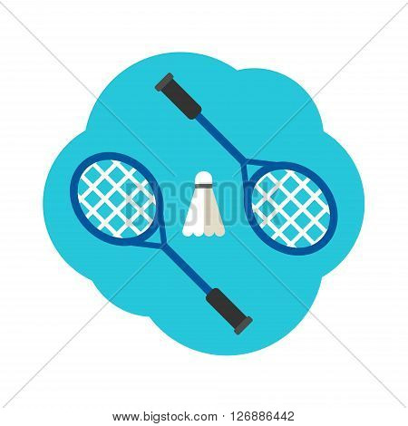 Sport Concept Illustration. Badminton. Rackets and shuttlecock. Flat Style Vector Illustration