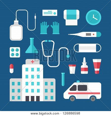 Set of Vector Icons and Illustrations in Flat Design Style. Profession Medicine Doctor. Hospital Ambulance