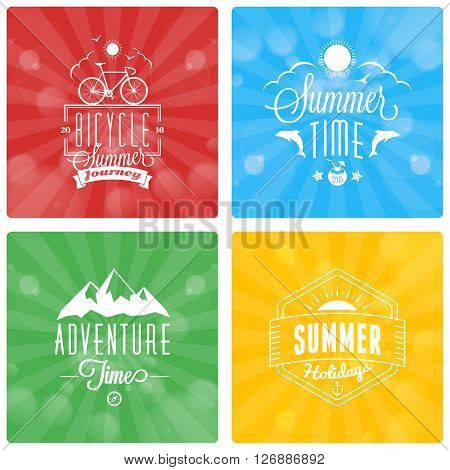Set of Summer Holidays Badges on Color Background with Rays and Lights. Beach Vacation, Travel, Tourism. Vector illustration