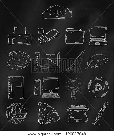 Linear hand drawn icons on chalk Board. Accessories owned by the programmer the designer Illustrator and coder. Vector illustration