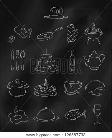 Linear hand drawn icons on chalk Board. Accessories belonging to chef. Vector illustration