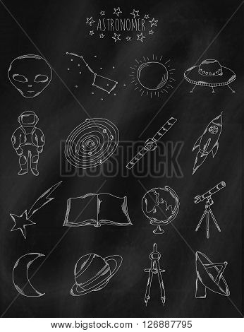 Linear hand drawn icons on chalk Board. Accessories belonging to the astronomer astronaut astrologer. Vector illustration
