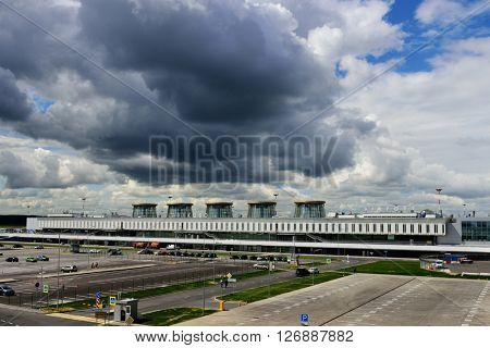 ST. PETERSBURG, RUSSIA - JULY 1, 2015: Passenger terminal of the international airport Pulkovo. Pulkovo is the 4th airport in Russia by passenger traffic after Moscow air hub