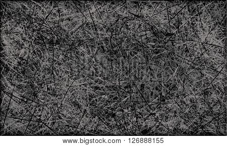 Vector black and white abstract scratched grunge background. Vector illustration