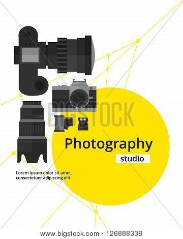 Photography Studio Flyer,Poster Design Template.Photography Equipment.Vector illustration