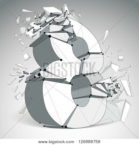 Vector dimensional wireframe number 8 demolished digit with fragments. 3d mesh technology element broken into pieces.