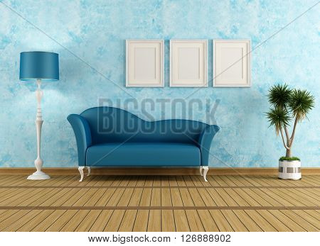 Living room with stucco wall and classic sofa- 3d rendering