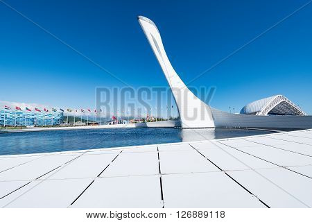 Sochi Russia May 11 2015: The cup of Olympic flame in the Olimpic park.