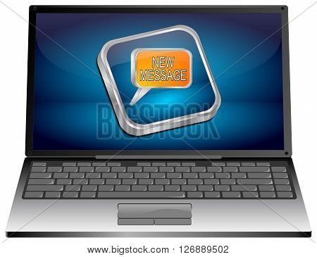 Laptop computer with new Message Button -3d Illustration