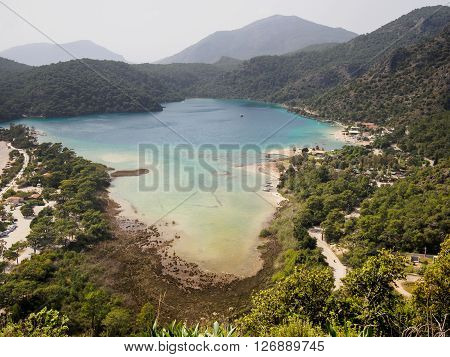 Lagoon on a coast of mediterranean sea. Oludeniz Fethiye Turkey