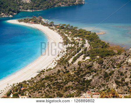 Beach of blue lagoon. Oludeniz Fethiye Turkey.