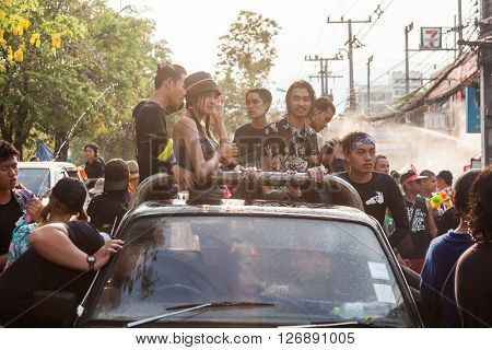 CHIANGMAI, THAILAND - APRIL 14: Thai people celebrating Songkran Festival in Chiangmai on April 14,2016. Songkran Festival is a important festival,people splash water to celebrate the new year coming