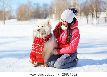 Woman Owner With White Samoyed Dog Sitting On Snow In Winter Day