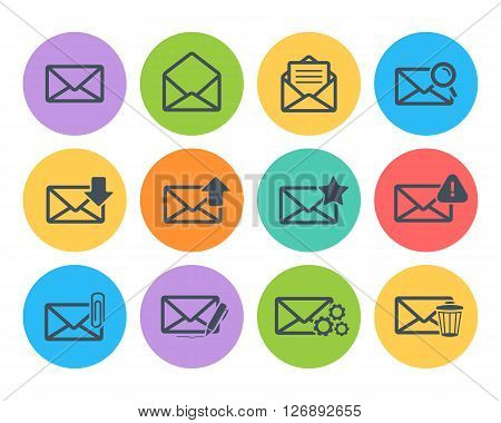 Email icon set.Vector mail icon set illustration.Vector black message icon set in flat style isolated on a color circle