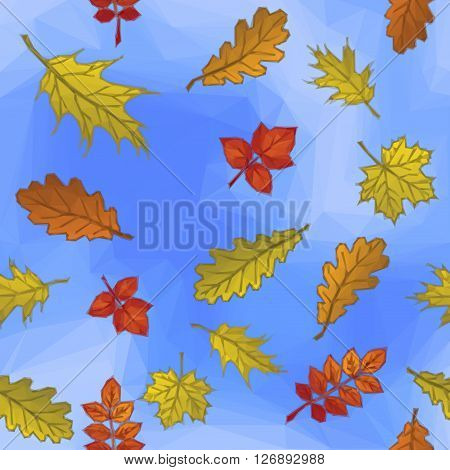 Autumn Nature Background with Leaves of Plants over the Blue Sky, Polygonal Low Poly Design. Vector