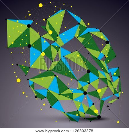 Vector Complicated 3D Figure, Modern Digital Technology Style Form. Colorful Abstract Lattice Futuri
