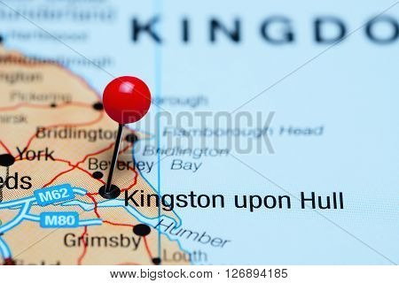 Kingston upon Hull pinned on a map of UK