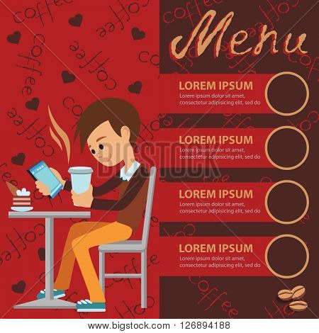 Vector illustration of template for menu, brochure, flyers for a cafe or restaurant with a picture of a young boy sitting at a table drinking coffee and using tablet.