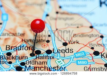Halifax pinned on a map of UK