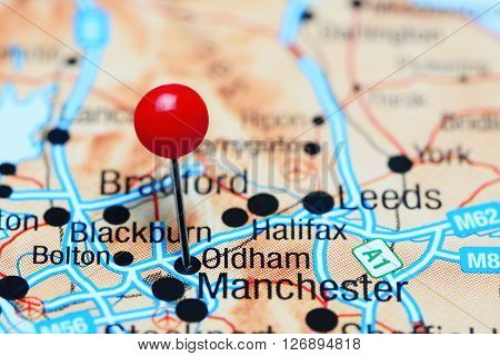 Oldham pinned on a map of UK