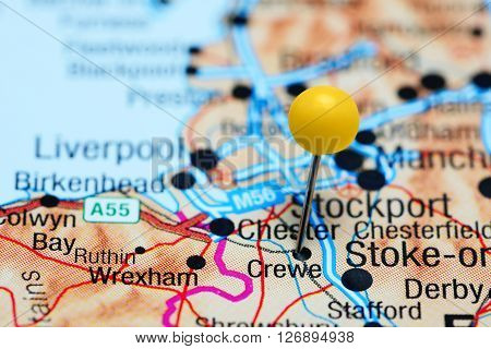 Crewe pinned on a map of UK