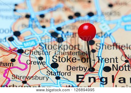 Derby pinned on a map of UK